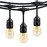 48Ft Outdoor Weatherproof String Lights with 24 Sockets E26 Base & 26 11W S14 Warm Bulbs, Commercial Grade Heavy Duty Light String for Patio, Bistro, Backyard, Black Wire