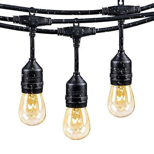 Brightown 48Ft Weatherproof Outdoor Patio String Lights with E26 Base Sockets & S14 Bulbs, Hanging Market Cafe Edison Vintage Strand for Deckyard Backyard Bistro Pergola Wedding Gathering Party, Black (Patio Outdoor Lighting String)