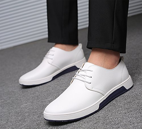 Breathable Casual Men's Sneakers Shoes Zzhap Fashion Flat Oxford White02 p5Ifdw