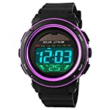Waterproof Shockproof Digital Watch Solar Power Fashion Sports Wristwatch Purple