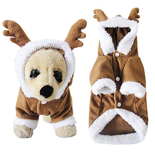 Filhome Puppy Dog Christmas Reindeer Costume, Pet Cat elk Costume Hoodie Christmas Winter Coat Clothes Xmas Outfit Apparel