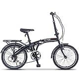 ORKAN 20' 6 Speed Folding-Bicycle Foldable Bike Shimano Hybrid Black