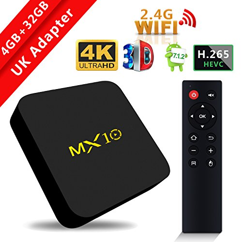 2018 Model SCS ETC Streaming Media Player, MX10 Android 7.1 TV Box 4GB +...