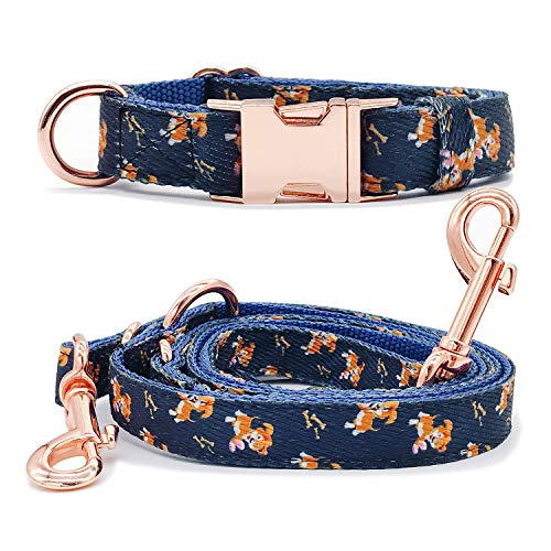 KUYOUGOU Dog Collar and Leash (6.6'), Stylish Design with Rose Gold Set, Cotton, 3 Adjustable Lengths, for Medium to Large Dogs (S/M (11''-15.7''), Navy Blue) ()