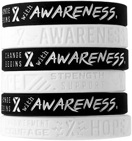 (12-Pack) White Awareness Ribbon Silicone Wristbands - Fits Any Awareness Cause - Wholesale Bulk Pack of 12 Silicone Bracelets in Unisex Adult Size