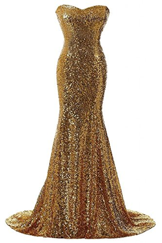 Rong store Rongstore Women's Strapless Sweetheart Neck Mermaid Sequins Long Evening Gown For Formal Party