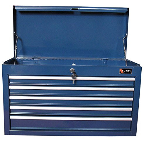Top Seller Highest Rated 5 Drawer 26'' Steel Reinforced Professional Tool Box Organizer Blue- Ball Bearing Sliding Heavy Duty Locking Drawers With Full Length Handles- Powder Coated Corrosion Free by Above Par (Image #1)