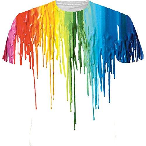 Casual T Col Grande Taille Élastiques Adeshop Rond Chemise 3d Multicolore T Tops De Courtes Lâche D'aquarelle Impression shirt À Hommes Chemisier shirts Tête Manches Été Numérique dxwR8qU