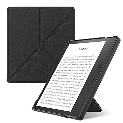 MoKo Case Fits All-New Kindle Oasis (9th and 10th Generation, 2017 and 2019 Release) ONLY, Slim Shell Origami Stand Cover with Auto Wake/Sleep - Black