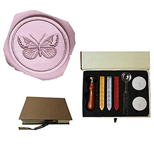 Vintage Butterfly Custom Picture Logo Wedding Invitation Wax Seal Sealing Stamp Rosewood Handle Sticks Melting Spoon gift Box Set Kit