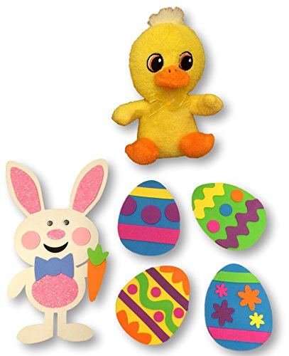 Easter Kids Craft Kit with Adorable Stuffed Chick – Bundle includes a Foam Bunny Craft, 4 Foam Egg Crafts with Magnets and a sweet Chick Plushie
