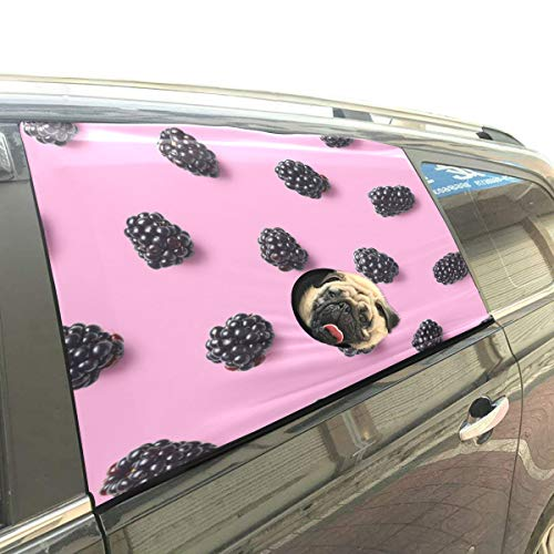 Blackberries Fresh Fruit Pet Dog Safety Car Part Vehicle Auto Window Fence Curtain Barriers Protector for Baby Kid Sun Shade Cover Universal Fit SUV