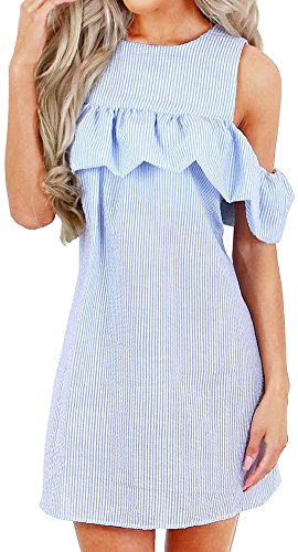 19Kenna Women's Sexy Sweet Flounce Cold Shoulder Seersucker Mini Shift Dress XL (Womens Seersucker Shift Dress)