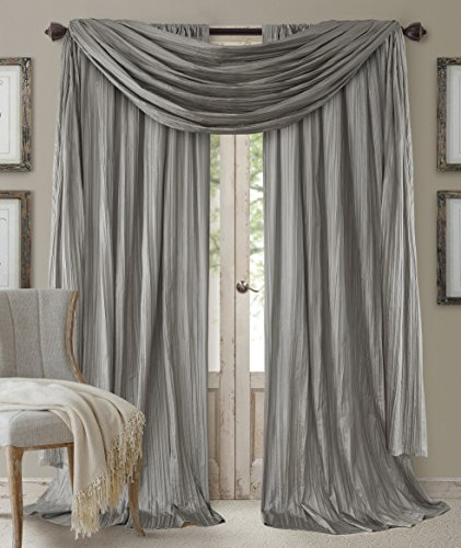 Elrene Home Fashions 26865855173 Window Curtain Drape Rod Pocket Panel, Set of 3, 52 x 84, Sterling, 52x84 Each (2 52x216 (1 Valance)