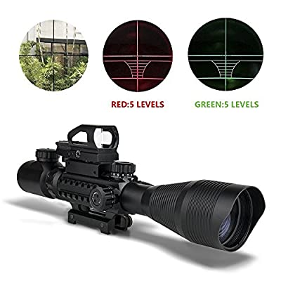 AR15 22 Rifle Scopes and Optics with Bipod, Uboo 4-16x50EG Dual Illuminated Holographic 4 Reticle Red and Green Dot Sight (16 Month Warranty) for Hunting with 22&11mm Weaver/Picatinny Rail Mount