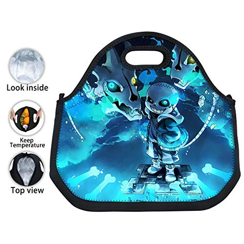 """Mnliu kk Under-Sans Lunch Bag Black Neoprene Insulated Lunch Tote Leakproof Thermal Lunch Box with Zipper 12.2""""X11.8""""X5.5"""" for Adults Kids Work Outdoor Travel Picnic"""