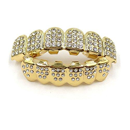 Captain Crafts Gold Plated Czech Diamond Hip Hop Teeth Grillz Caps Top Bottom Teeth Set (Gold) - Cheap Gold Teeth Caps