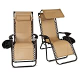 Belleze Set of (2) Outdoor Patio Zero Gravity Chairs Lounge Seat Recliner Yard Backyard Garden Beach Cup Holder Device Tray, Beige
