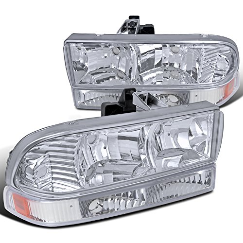 Chevy S10 Blazer PickUp Crystal Chrome Headlights+Clear Corner Signal (Chevy S10 Crystal Headlights)