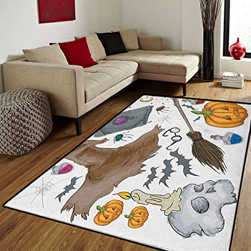 Halloween,Bath Mats for Floors,Magic Spells Witch Craft Objects Doodle Style Illustration Grunge Design Skull,Customize Bath Mat with Non Slip Backing,Multicolor,5x6 ft -