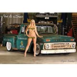 Playboy Model Nude with 1966 Chevy C10 Poster (12x18 inches)