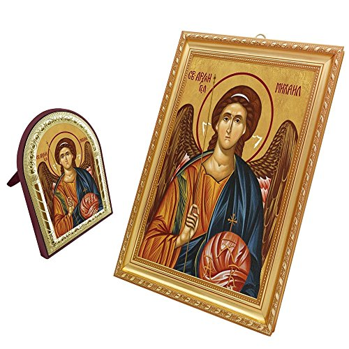 FengMicon St.Michael the Archangel Framed Greek Orthodox Church Catholic Religious Icon Set