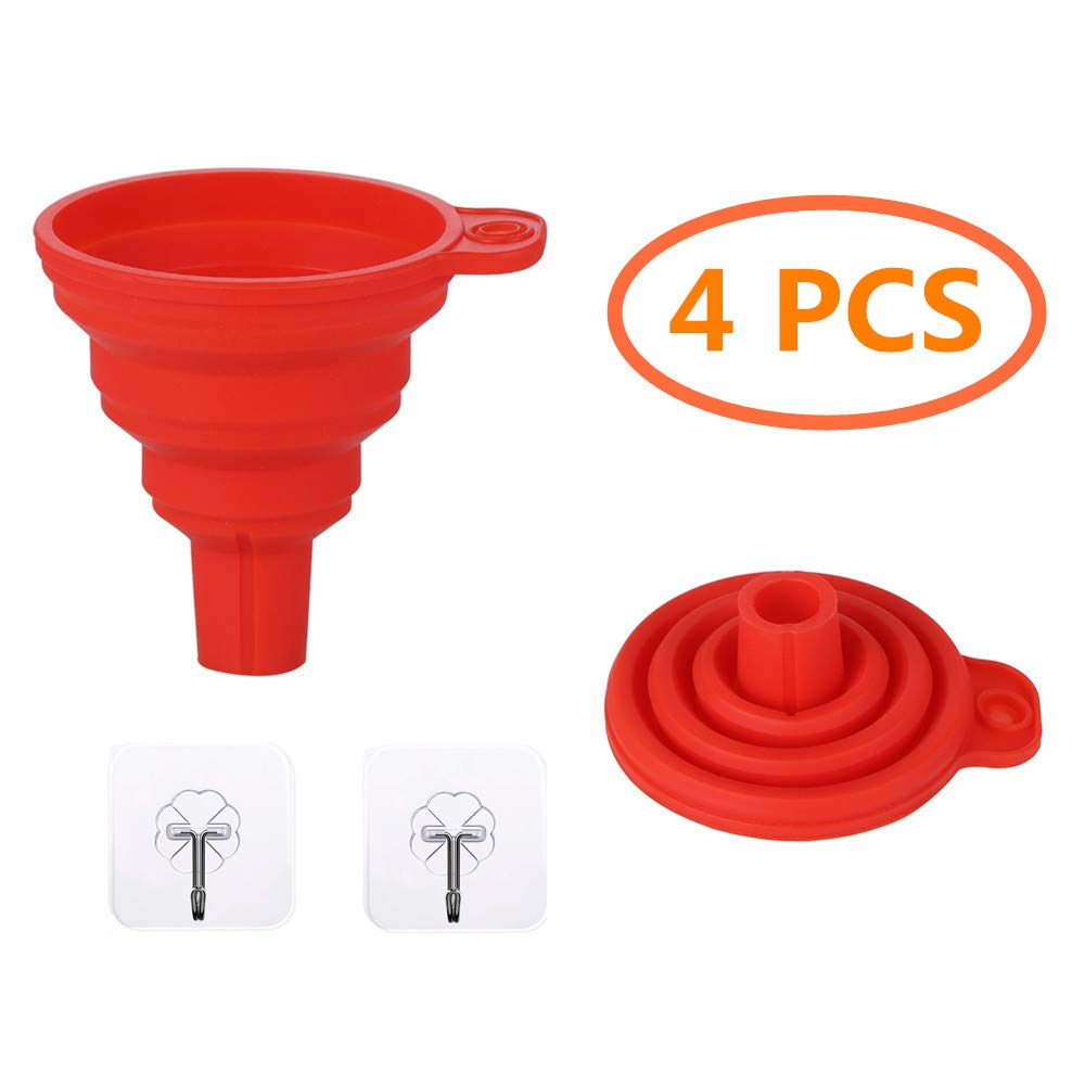 4 pcs Silicone Foldable Funnel Set for Kitchen Liquid Transfer, collapsible, 100% BPA-Free with 2 Funnels & 2 Wall Hooks