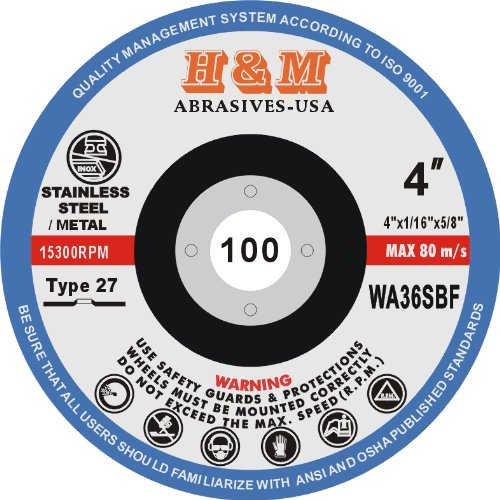 4'' x 1/16'' x 5/8'' CUT-OFF WHEELS for Stainless Steel & Metal Cutting Disc - Type 27 ( 25 PACK )