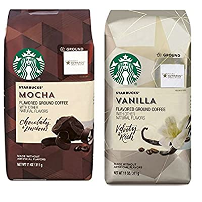 Starbucks Flavored Ground Coffee Variety Pack. Convenient One-Stop Shopping for Ultra Popular Starbucks Coffee Mocha and Ground Vanilla Blends. Journey to a Coffee Paradise Without Leaving Home.