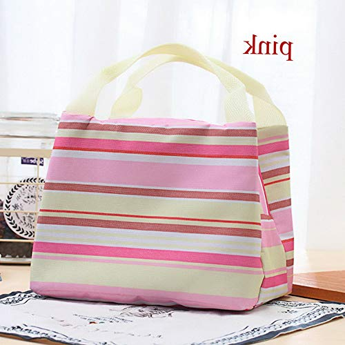 - Mikash Kitchen Camping Food Thermal Stripe Lunch Box Insulation Bag Picnic Container | Model FDCNTNR - 595 | pink