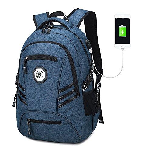 Travel Laptop Backpack, Waterproof Black USB College School Computer Bookbag