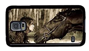 Hipster custom Samsung Galaxy S5 Cases girl kissing horse PC Black for Samsung S5