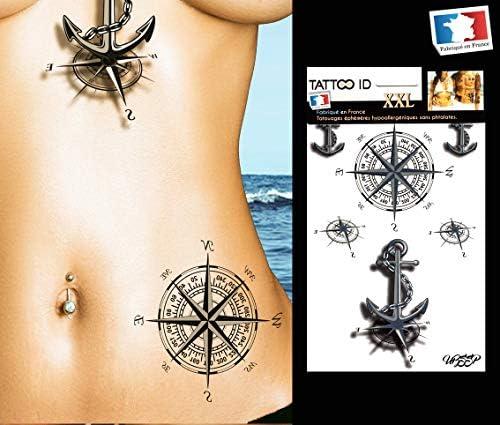 Tatouage Ephemere Temporaire Femme Marine Ancre Et Rose Des Vents Tattoo Id Xxl Hypoallergenique Fabrique En France 1 Planches 22cm X 14 5cm Homme Femme Amazon Fr Beaute Et Parfum