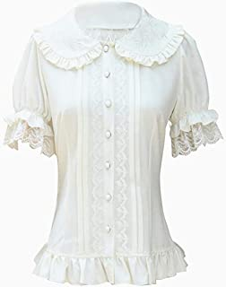 f3ccd00c17 Double Villages Women's Pleated Skirt Ruffle Chiffon Blouse Retro Victorian  Lolita Blouse