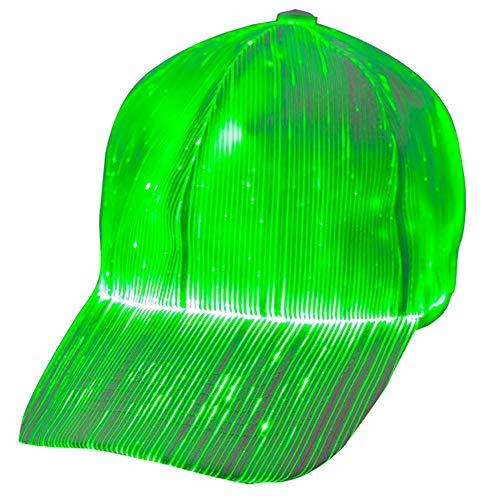 1clienic Luminous LED Baseball Cap 7 Colors Glow Hat Unisex DJ Light Up Rave Fiber Optic LED EDC Hats Rave Concert Father's Day Men Women Boys]()