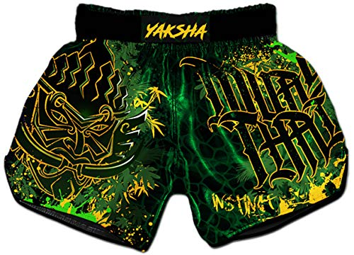 Muay Thai Shorts Kickboxing Martial Arts Combat Fight MMA UFC Boxer Boxing Trunks (M, Rumble in The Jungle)
