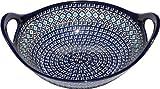 Polish Pottery Bowl with Handles From Zaklady Ceramiczne Boleslawiec #1347-217a Classic Pattern, Diameter: 12''