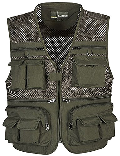 (Zhusheng Men's Mesh Multi Pockets Photography Hunting Fly Fishing Outdoor Quick Dry Vest Breathable Waistcoat Jackets (X-Large(Asia Tag 4XL), Army Green))