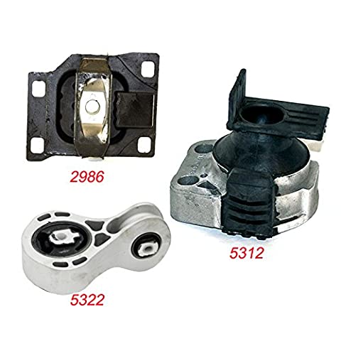 K2104-03 Fits 2008-2011 Ford Focus 2.0L Engine Motor & Trans Mount Set 3pcs AT & MT 2008 2009 2010 2011 A5312 A5322 - Ford Focus Engine Mount