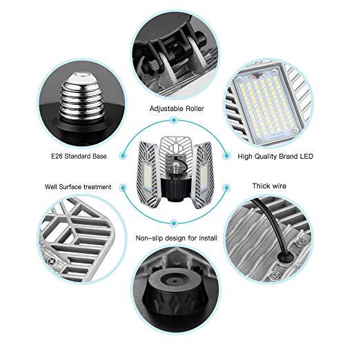 6500Lumens Adjustable Trilights Garage Ceiling LZHOME 2-PACK LED Garage Lights