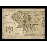 "Pyramid International - Stampa con cornice,""Middle Earth Map"", per appassionati de Lo Hobbit, formato A3"