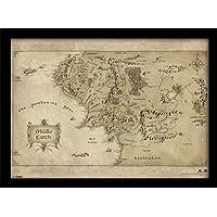 """Pyramid International - Stampa con cornice,""""Middle Earth Map"""", per appassionati de Lo Hobbit, formato A3"""