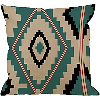 HGOD DESIGNS Throw Pillow Case Aztec Tribal Cotton Linen Square Cushion Cover Standard Pillowcase for Men Women Home Decorative Sofa Armchair Bedroom Livingroom 18 x 18 inch