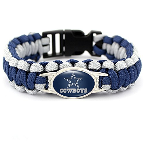 CF Outdoor Blue White Braided Rope Paracord American Football Dallas Cowboys Cuff Bracelet Bangle for Men Women for Hiking Camping Outdoors Activities
