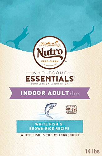 Nutro Indoor Adult Dry Cat Food White Fish 14 Lb. Bag