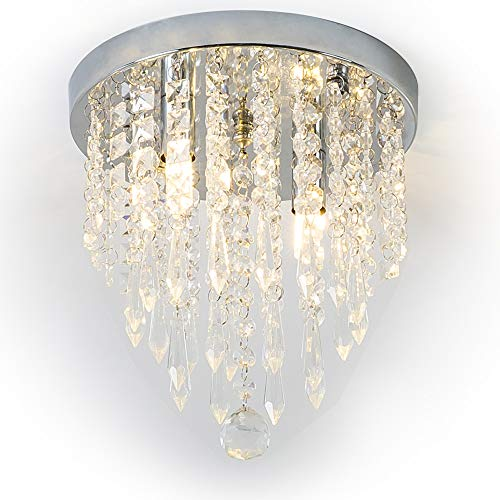 Lifeholder Mini Chandelier, Crystal Chandelier Lighting, 2 Lights, Flush Mount Ceiling Light, H10.4'' x W8.66'' Modern Chandelier Lighting Fixture for Bedroom, Hallway, Bar, Kitchen, Bathroom