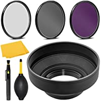 PRO 49mm Filter Kit + PRO 49 mm Rubber Lens Hood for Canon EF 50mm f/1.8 STM - 49 mm Polarizing Filter, 49mm UV Filter, 49mm Florescent Filter & 49mm Soft Lens Hood