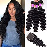 Ugrace Hair Loose Curly Hair Bundles with Closure Brazilian Virgin Hair Loose Deep Wave with Closure with Baby Hair Soft and Bouncy Natural Wave Human Hair with Closure 10 12 14+10 Inch Free Part