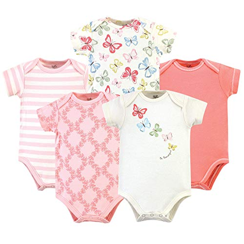 Touched by Nature Unisex Baby Organic Cotton Bodysuits, Butterflies 5 Pack, 0-3 Months (3M)]()