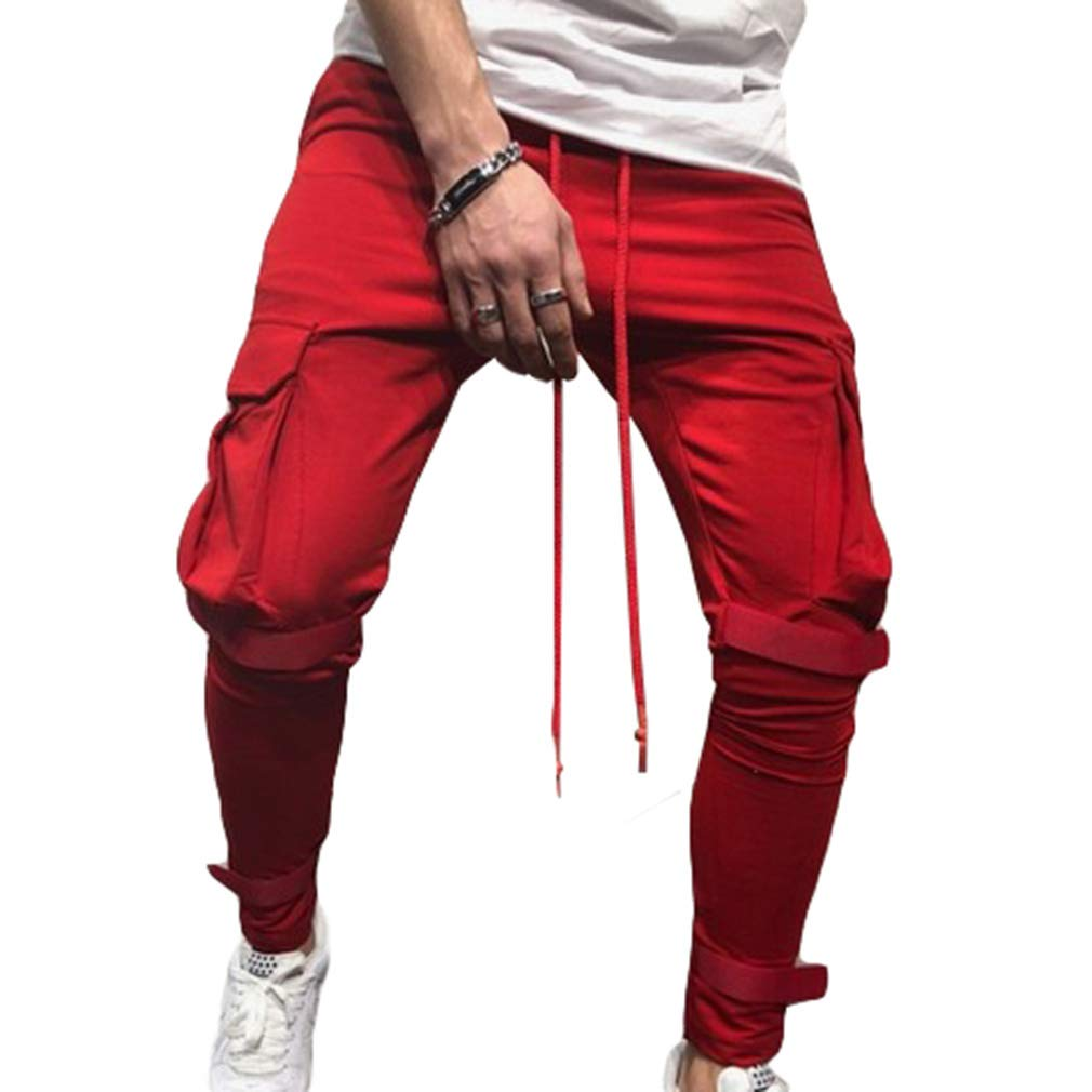 juqilu Pantalones de chándal al Aire Libre para Hombres Caminar Casual Jogger Bolsillos de Ropa Deportiva Pantalones Cintura elástica Cordón Pantalones sólidos M-3XL